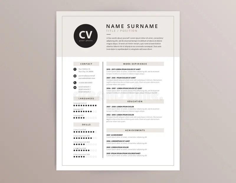 CV / Resume Template - Elegant Stylish Vector Design Stock Vector
