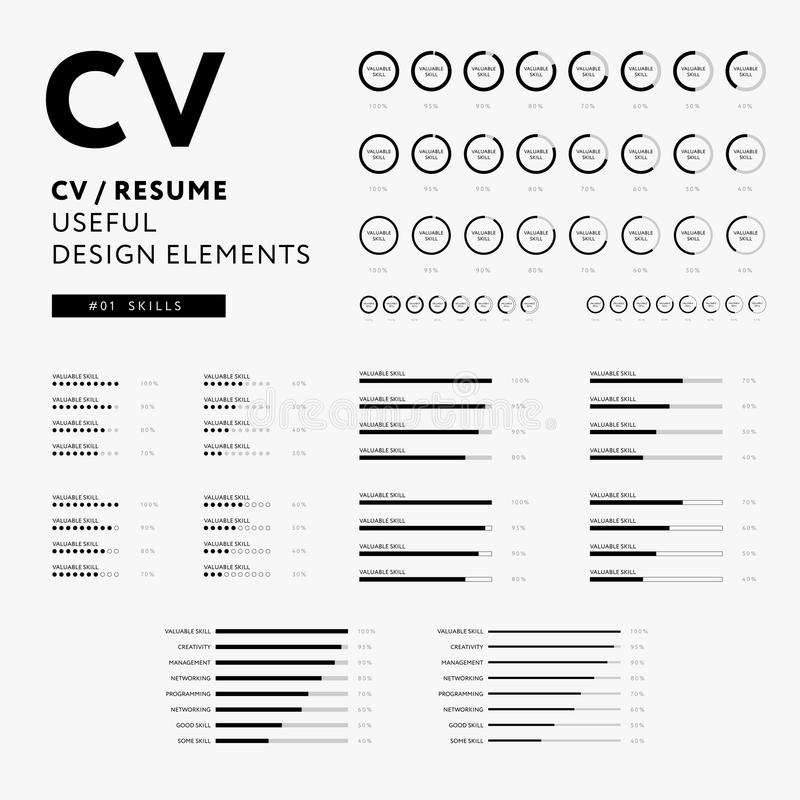 Curriculum Vitae Useful Design Elements Set - Skills Icons Stock
