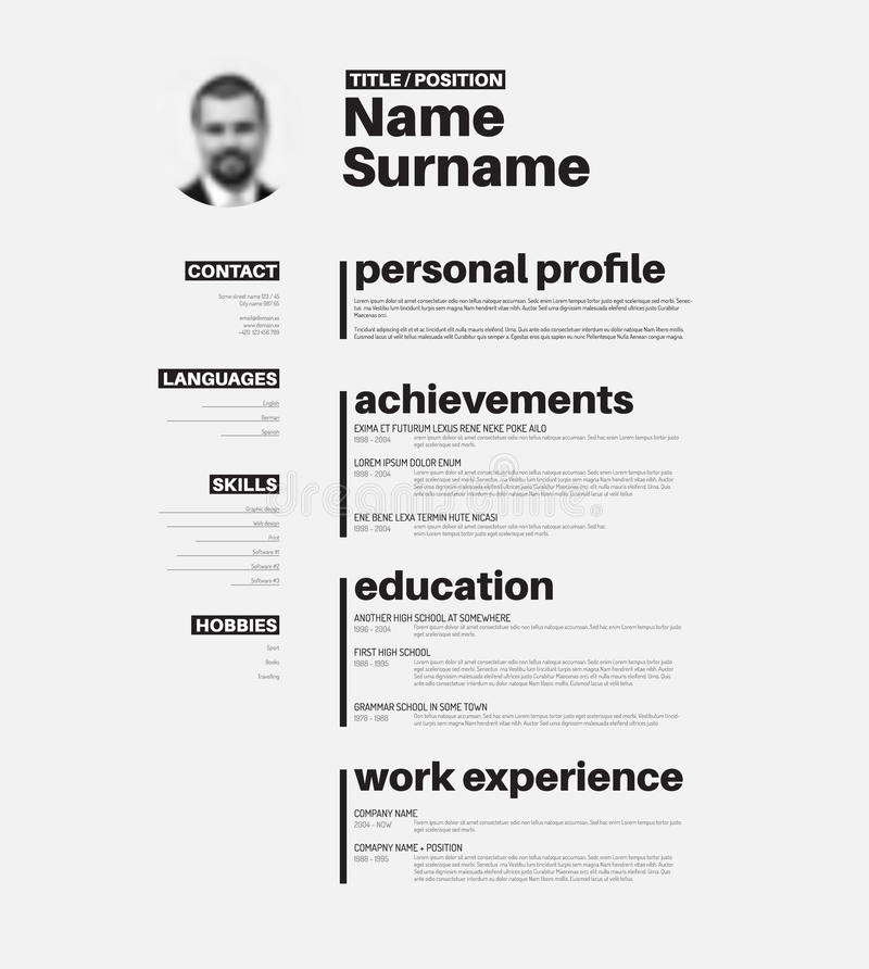 Cv / Resume Template With Nice Typography Stock Vector - Nice Resume Template