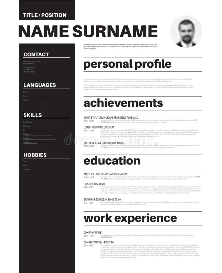 Cv / Resume Template With Nice Typography Stock Illustration - Nice Resume Template