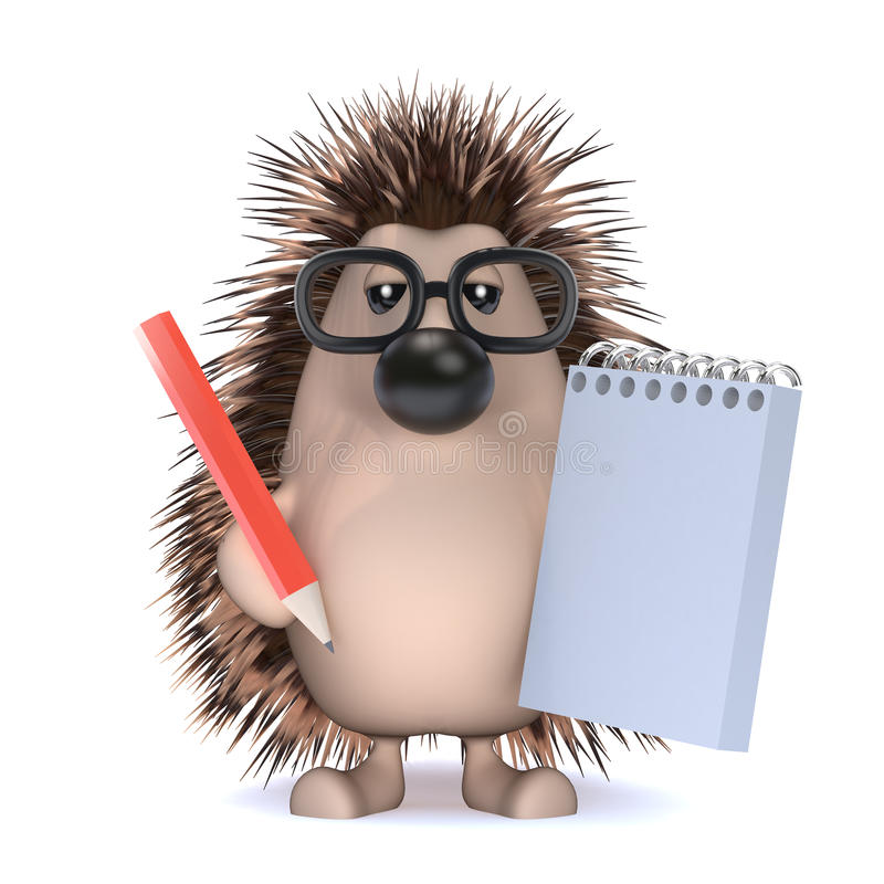 3d Hedgehog Takes Notes At The Meeting Stock Illustration - meeting note pad