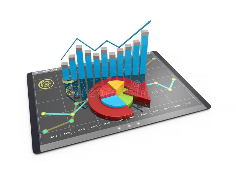 3D Rendering Analysis Of Financial Data In Charts - Modern Graphical