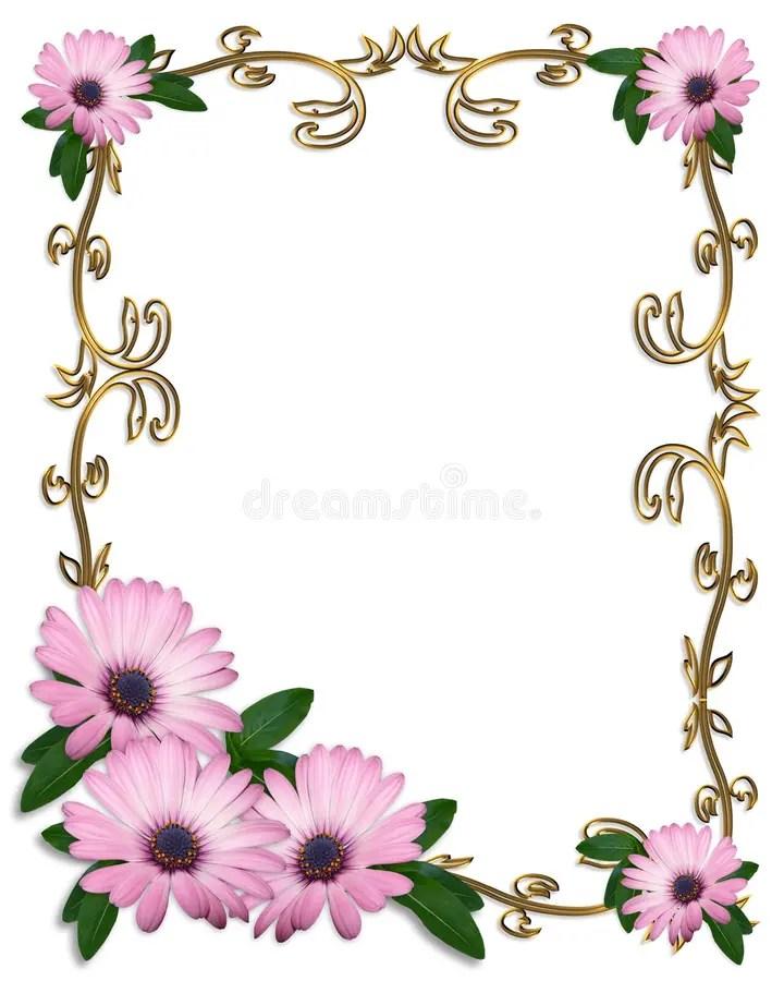 Daisy Border Wedding Invitation Template Stock Illustration - wedding template
