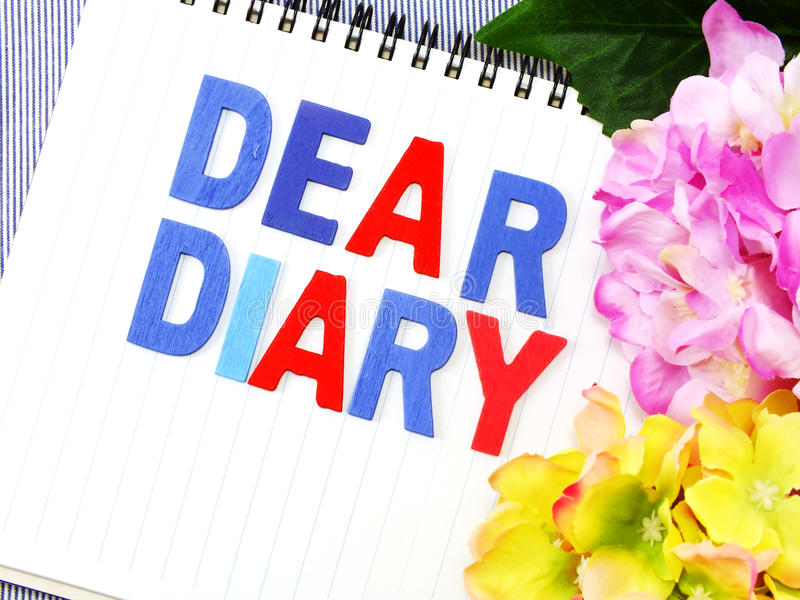 Dear Diary Word On White Paper Notebook Stock Image - Image of quote