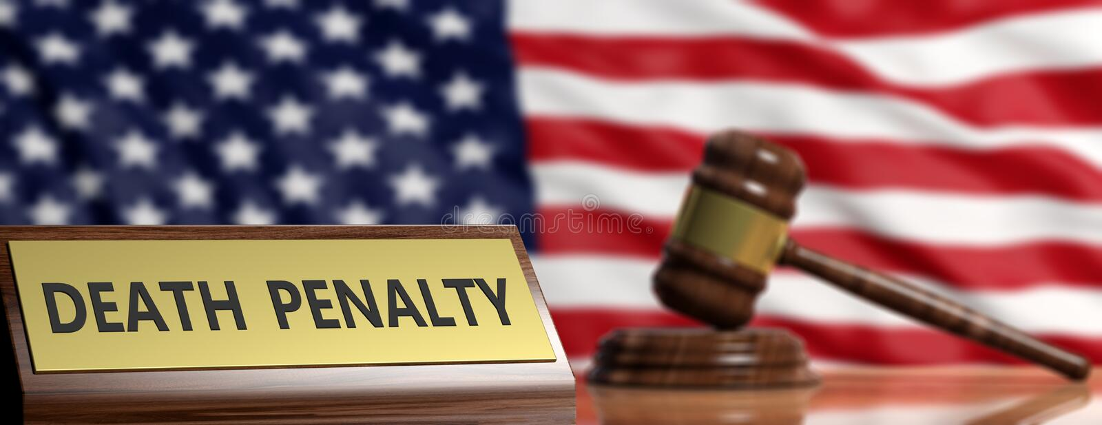 Death Penalty In USA Judge Gavel On US America Flag Background 3d