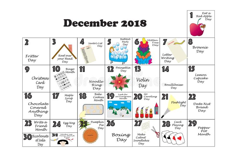 December 2018 Quirky Holidays And Unusual Events Stock Illustration - december monthly calender