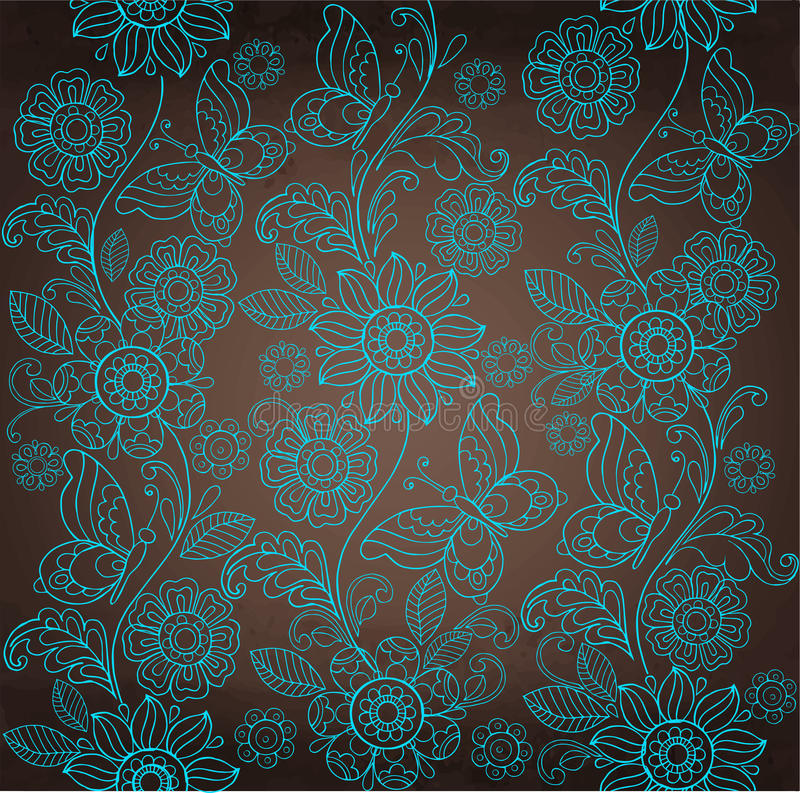 Decorative Turquoise Flower, Brown Background Stock Vector