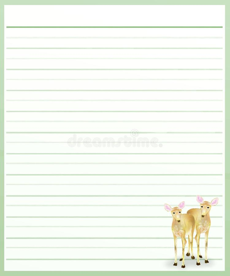 Deers On Green Color Lined Paper Stock Illustration - Illustration - color lined paper