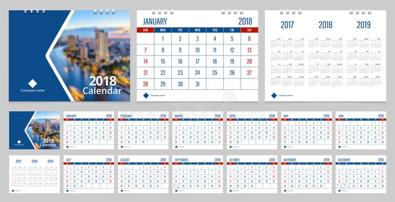 Desk calendar 2018 stock vector Illustration of month - 104257997 - calendar sample design