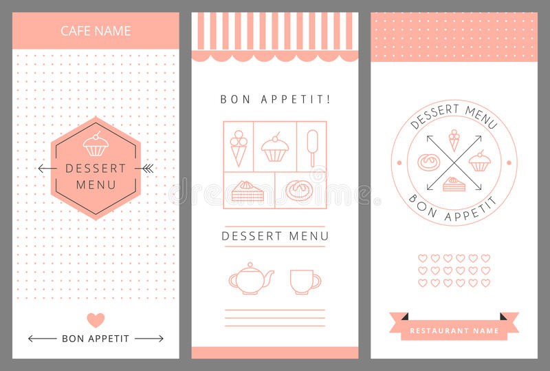 Dessert Menu Card Design Template Stock Vector - Illustration of