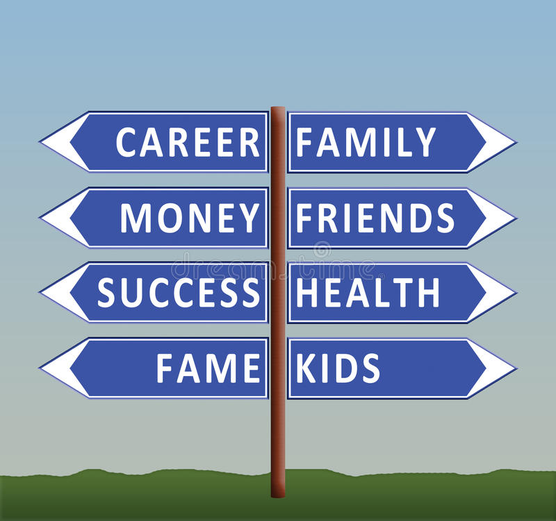 Dilemma Of Life Career Or Family Stock Illustration - Illustration