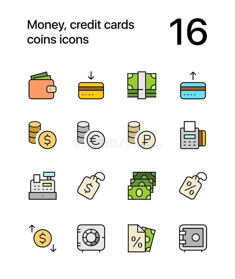 Dinero Coloreado, Tarjetas De Crédito, Iconos De Las Monedas Para El
