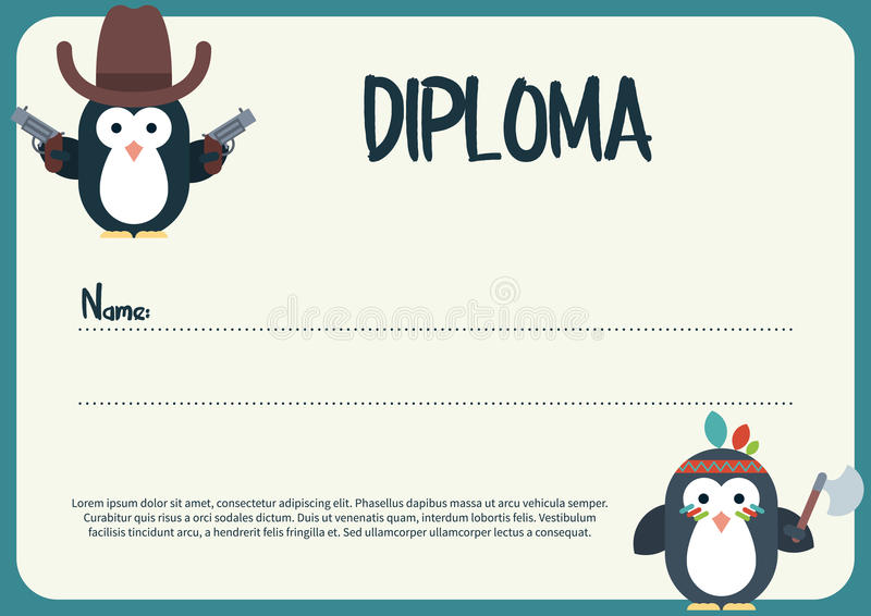 Diploma Template With Flat Penguins Characters Stylized As A Cowboy