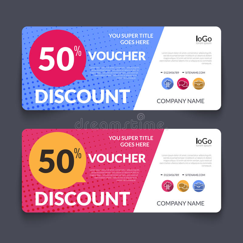 Discount Voucher Design Template With Colorful Stock Vector