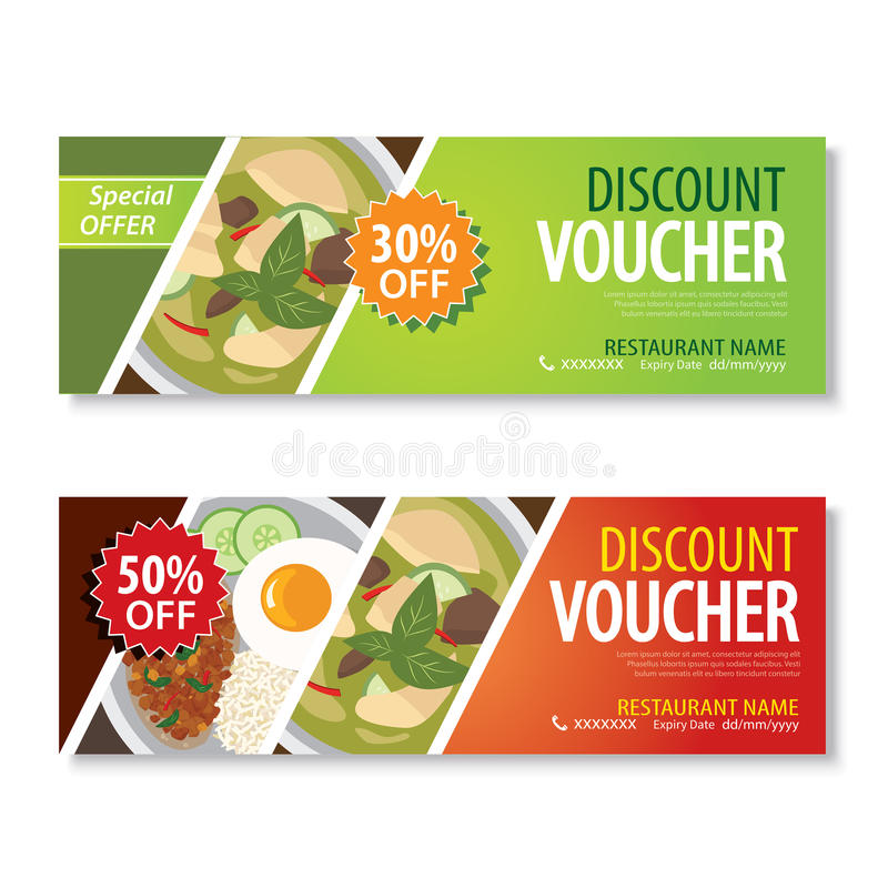Discount Voucher Template With Thai Food Flat Design Stock Vector - Lunch Voucher Template
