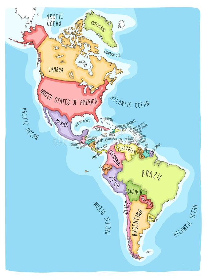 Doodle Map Of The American Continent Stock Vector - Illustration of