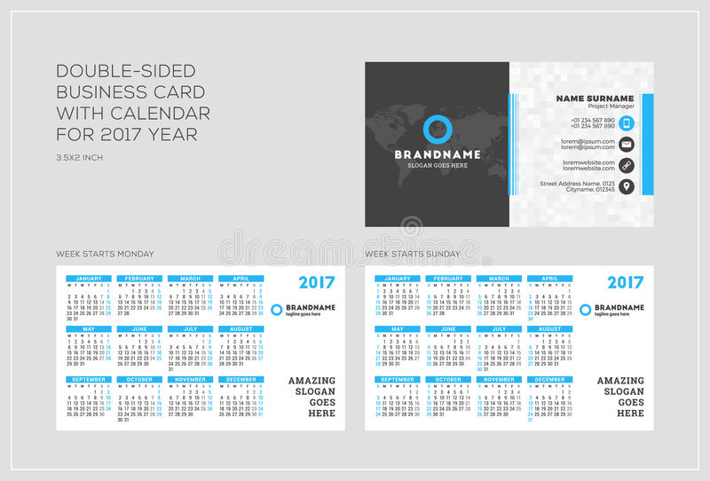 Double-sided Business Card Template With Calendar For 2017 Year