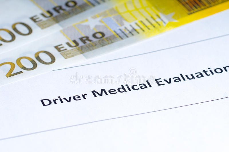 Driver Medical Evaluation, Paper Money Stock Image - Image of