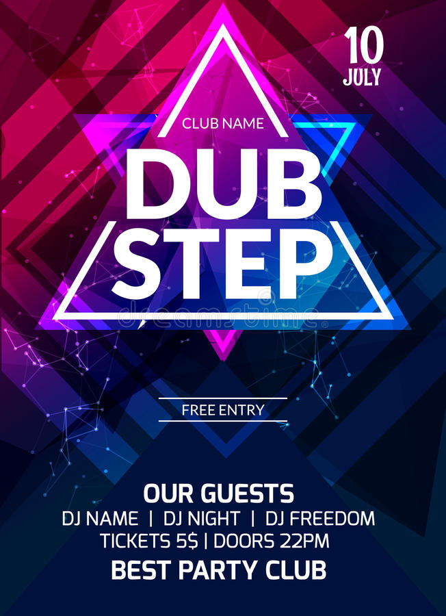 Dubstep Party Flyer Poster Futuristic Club Flyer Design Template - party flyer