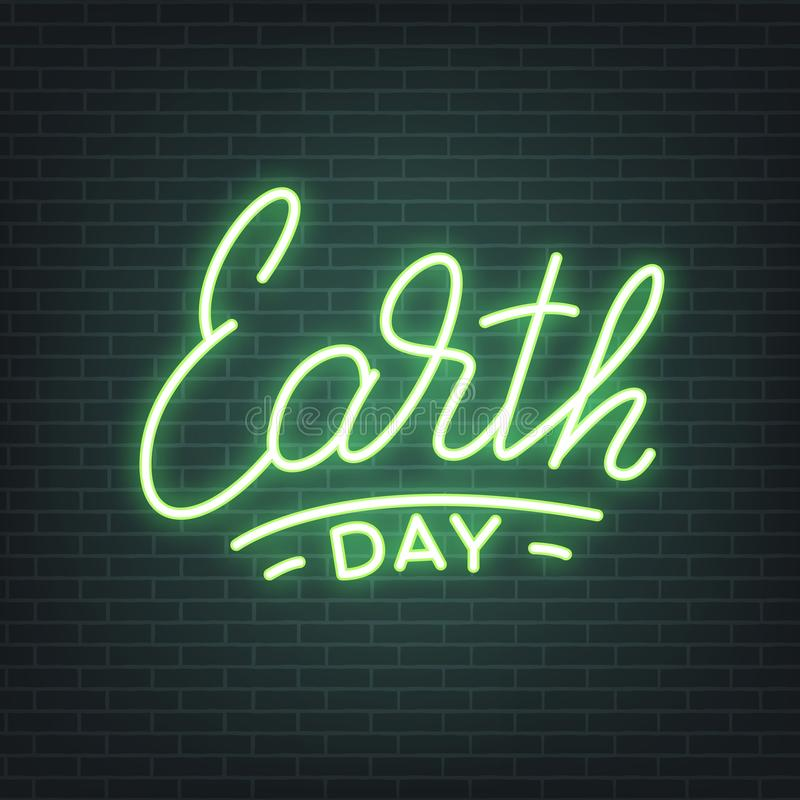 Earth Day Earth Day Neon Lettering Glowing Sign, Light Banner