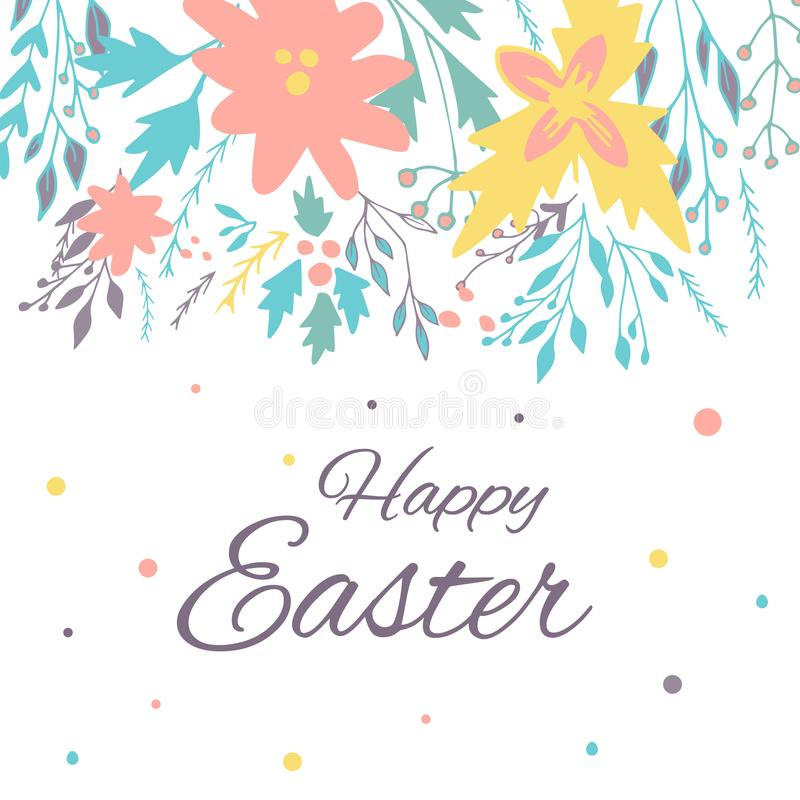 Easter Banner Background, Template With Beautiful Spring Flowers