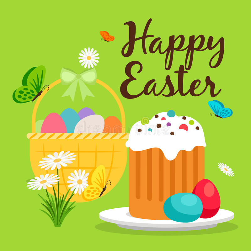 Easter Basket And Cake Greeting Card Stock Vector - Illustration of - easter greeting card template