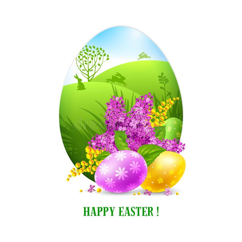 Easter Greeting Card Template Stock Vector - Illustration of lilac - easter greeting card template