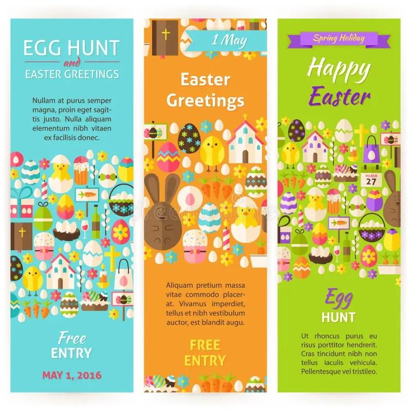 Easter Holiday Vector Invitation Vertical Flyer Set Stock Vector - religious brochure