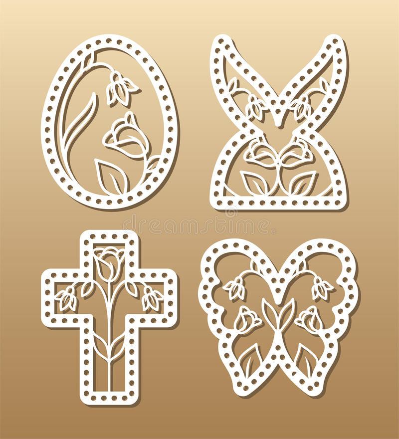 Easter laser cutting stock vector Illustration of postcard - 87140655