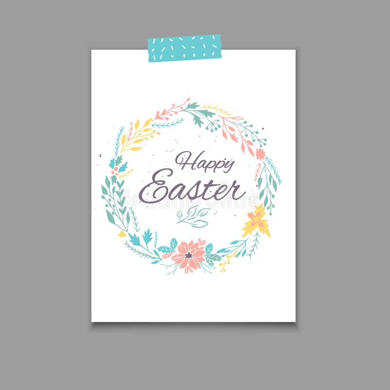 Easter Postcard Template , Hand Drawn Illustration Stock