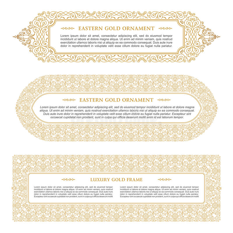 Eastern Gold Arabic Vector Lines Design Templates Muslim Floral