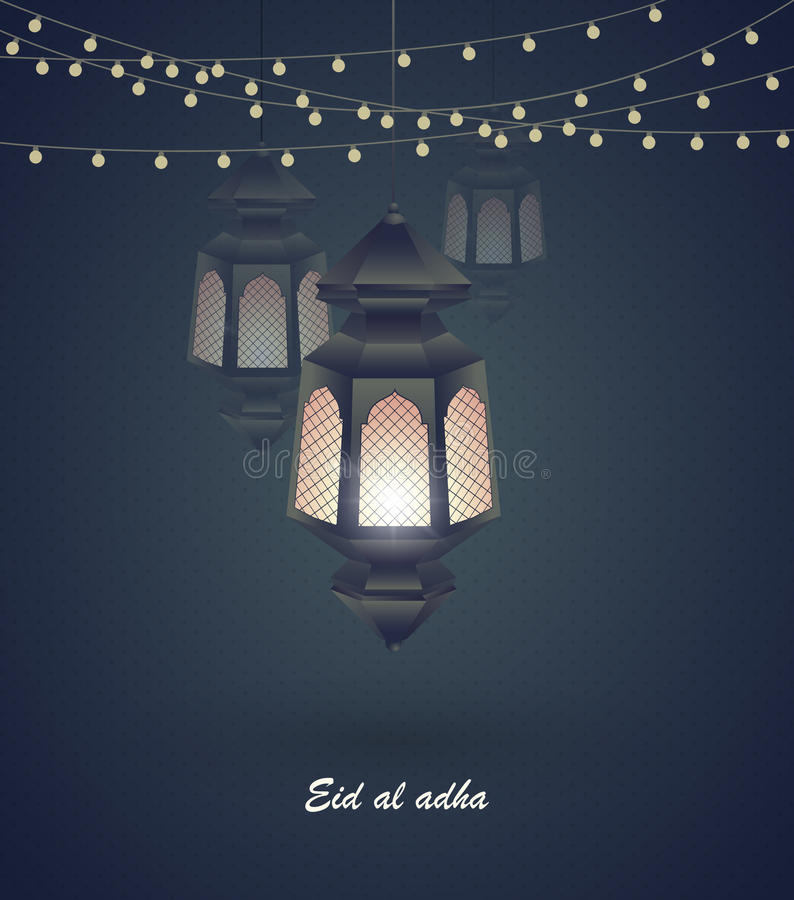 Eid Al Adha Greeting Card Template On Eid Al-Fitr Muslim Religious