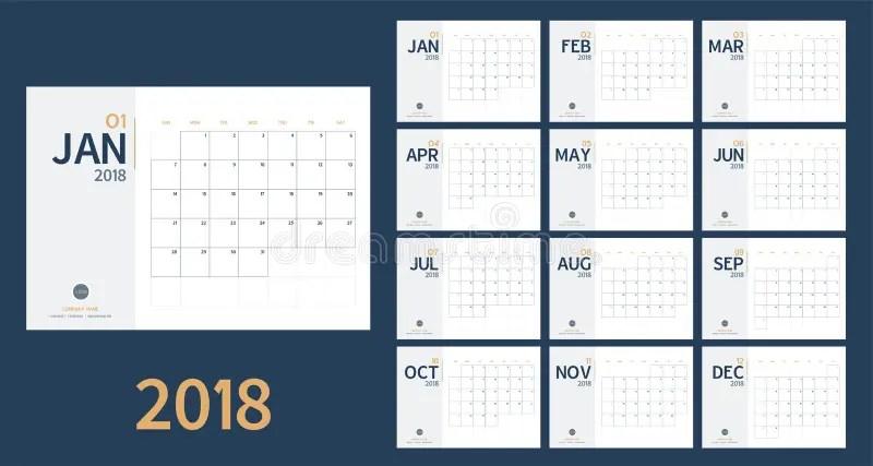El Vector Del Calendario Del Año Nuevo 2018 En El Estilo Simple Y El