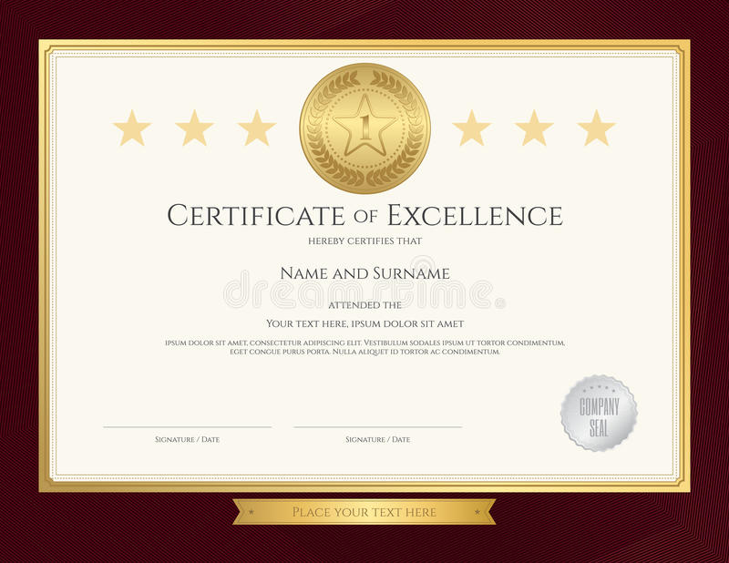 Elegant Certificate Template For Excellence, Achievement Stock
