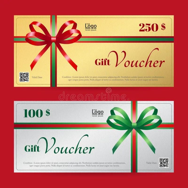 Elegant Christmas Gift Voucher Or Gift Card Template Stock Vector