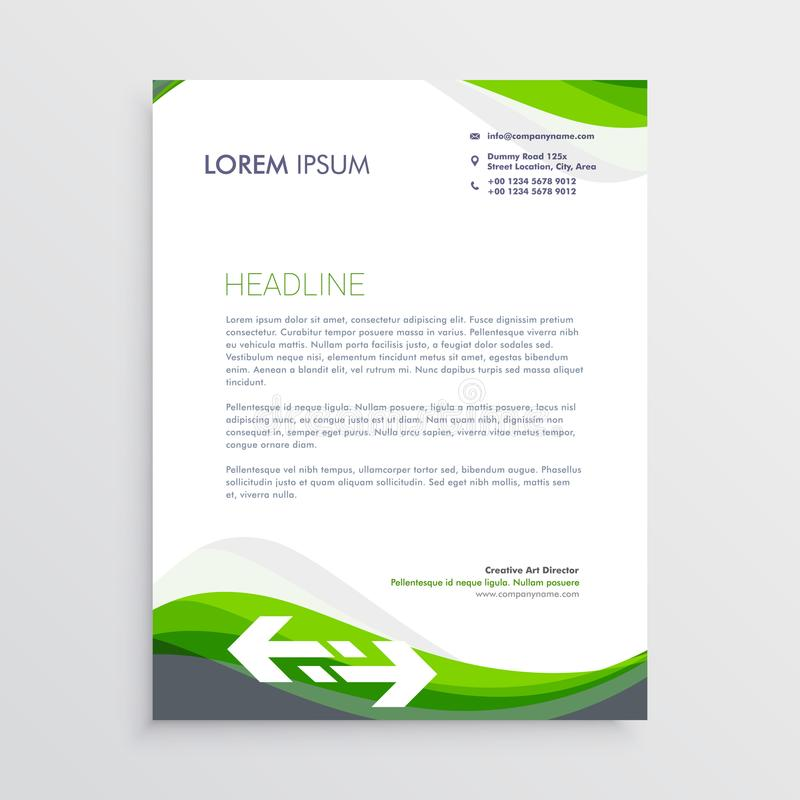 Elegant Green And Gray Letterhead Design Template Stock Vector