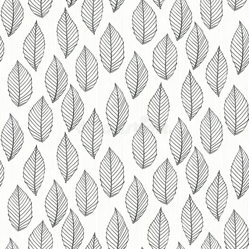 Fall Feather Wood Wallpaper Elegant Pattern With Leafs Drawn In Thin Lines Stock