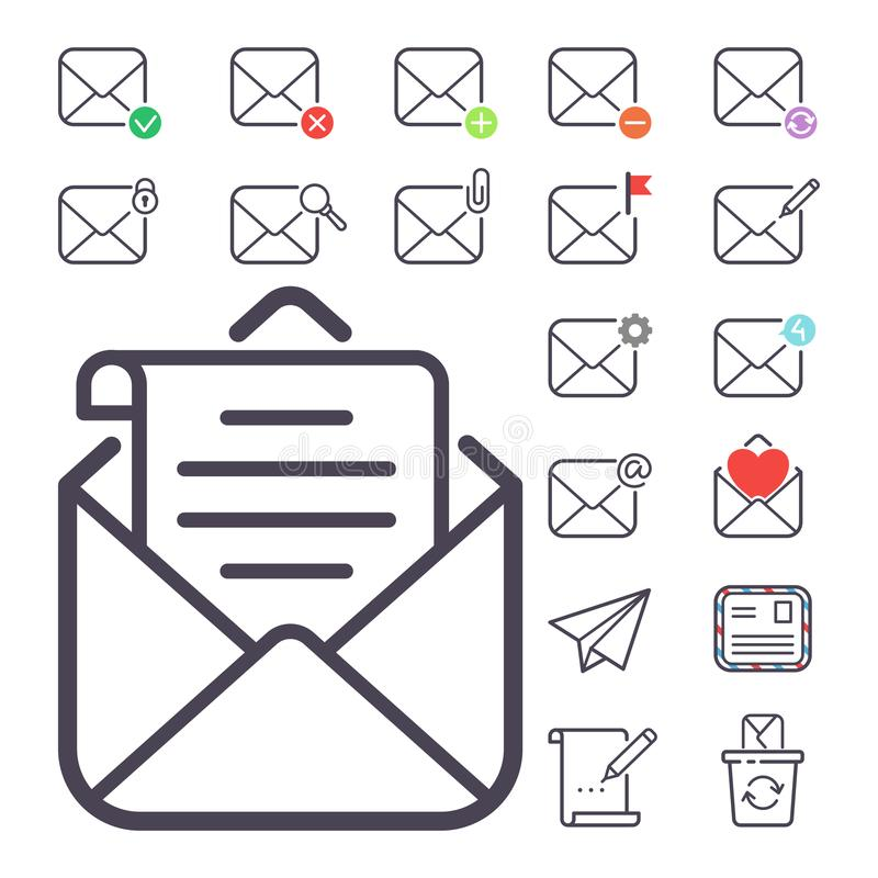 Email Letter Vector Icons Set Envelope Cover Communication - design paper for writing