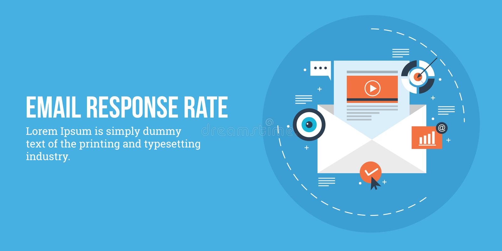Email Open Rate - Email Response - Email Marketing Concept Flat
