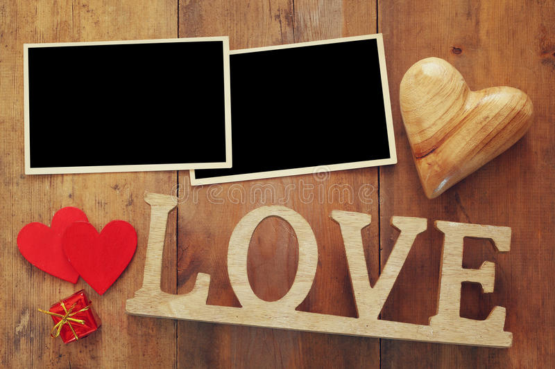 Empty Photo Frames Next Word LOVE From Wooden Letters Stock Image - word design frames