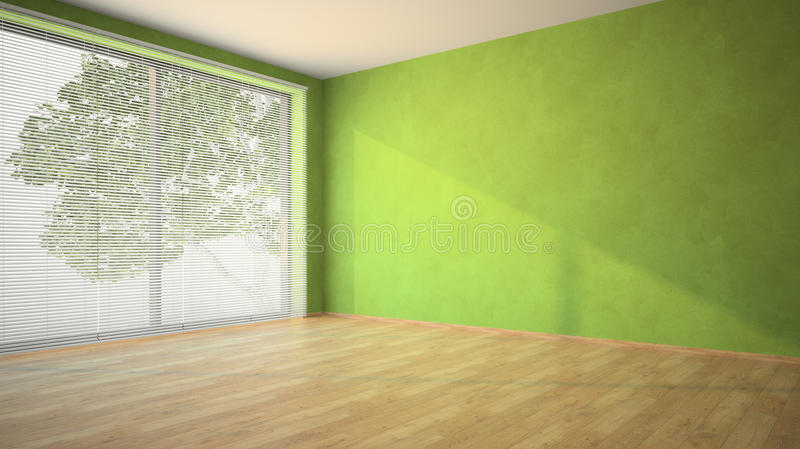 3d Wallpaper For Drawing Room Empty Room With Green Walls And Louvers Stock Image