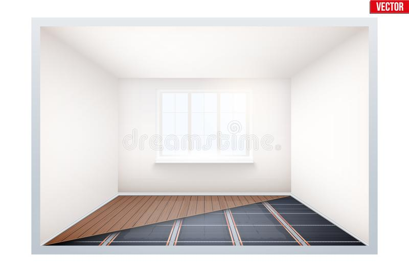 Empty Room With IR Heating Floor And Window Stock Illustration - presentation cover with window