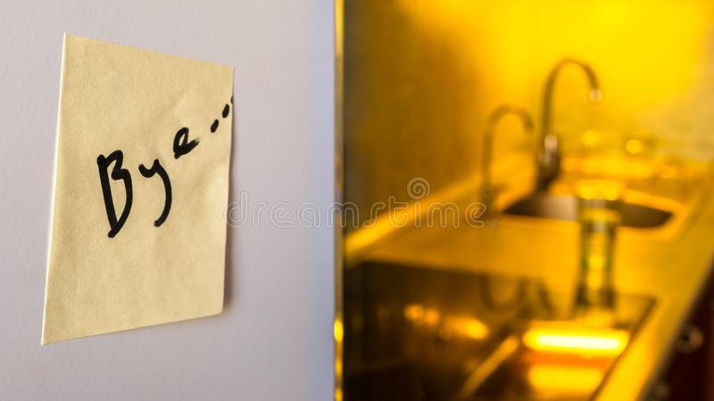 End Of Relationship Concept A Goodbye Note On A Refrigerator With - goodbye note
