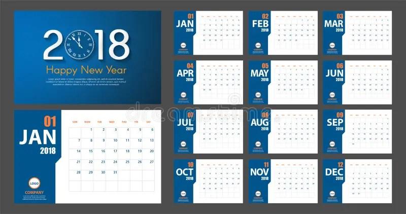 Estilo Moderno Simple Del Calendario Del Año Nuevo 2018 Azul Y