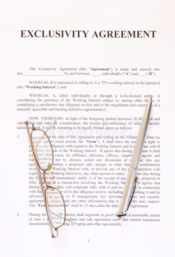 Exclusivity Agreement Form With Pen And Glasses Stock Photo - Image