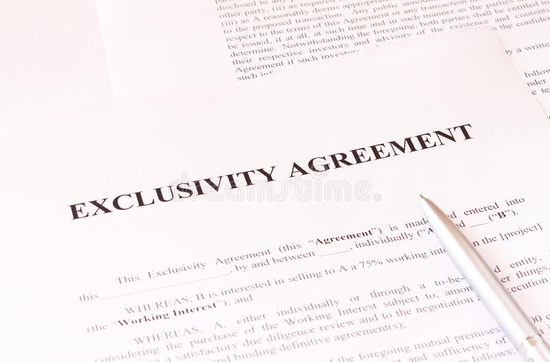 Exclusivity Agreement Form With Pen Stock Photo - Image of document