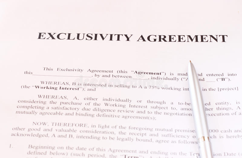 Exclusivity Agreement Form With Pen Stock Photo - Image of finance