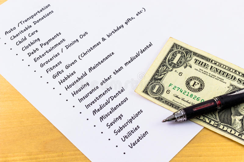 Expenses And Budget List With Wooden Background An Stock Photo - list of expenses