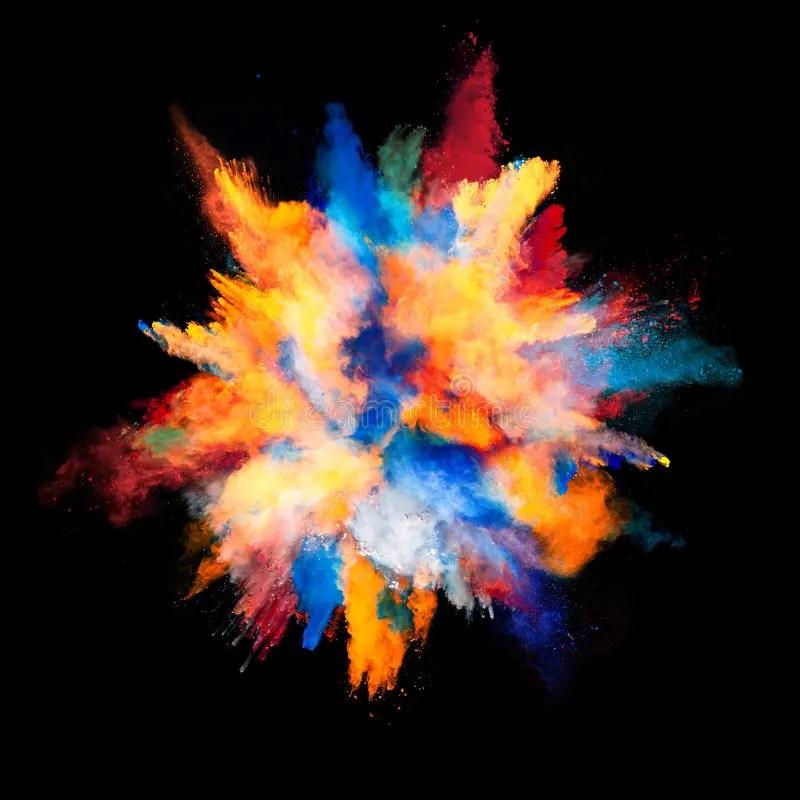 Colourful Iphone X Wallpaper Explosie Van Gekleurd Poeder Op Zwarte Achtergrond Stock