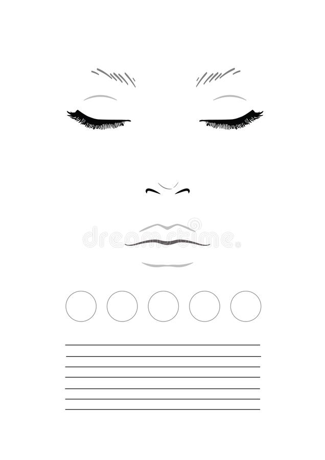 Face Chart Makeup Artist Blank Template Stock Illustration - eye chart template